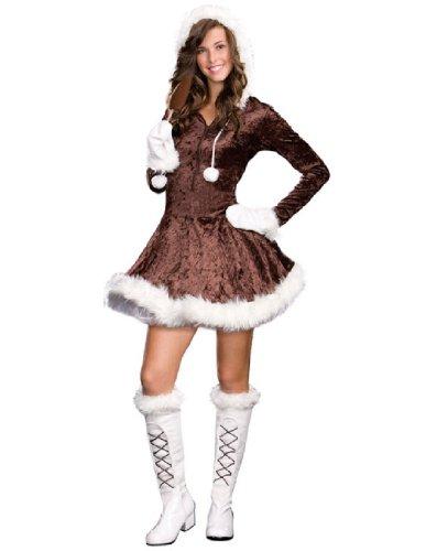 Dreamgirl Women's Eskimo Costume Brown and White -