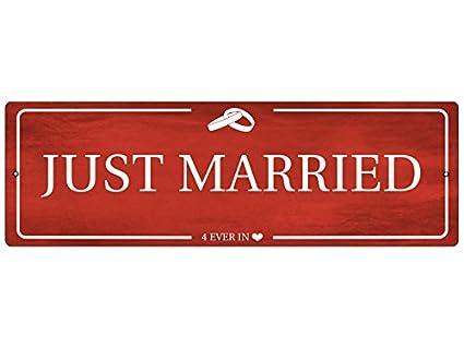Plástico - Rótulo Auto (Just Married Rojo Boda Cartel Auto ...