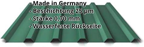 Weckman – Chapa ondulada, perfilada PA35/1035TR, panel de techo, material de aluminio, grosor 0,70 mm, revestimiento 25 µm, color verde oliva: Amazon.es: Bricolaje y herramientas