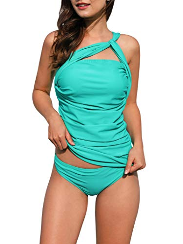 Womens One Shoulder Sexy Tankini Set Two Piece Push Up Green Swimsuits Tummy Control Beach Swimwear Medium ()