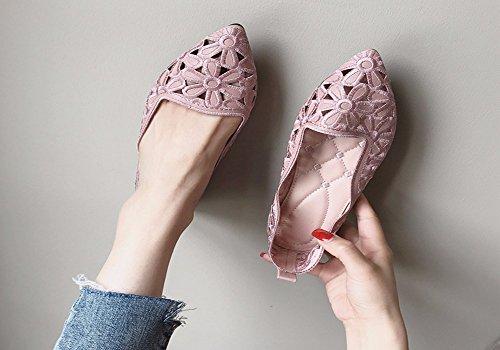 Enceinte Pour Peu Brod Unique Profonde t Surface Confortable Rose Plat Fond sept Chaussures Trente Creuse Chaussure Kphy Pointe Femmes Mou apqw5n88