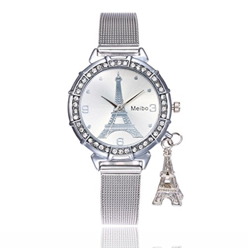 AmyDong Clearance Women Eiffel Tower Stainless Steel Quartz Wrist Watch Waterproof Watch Women Dress Wrist watches - Hours Place Water The Tower