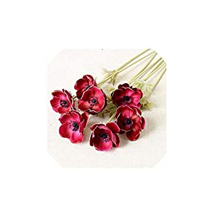 Wild-World DECOR 7PCS Artificial Anemones Flowers Real Touch Burgundy Center for Wedding Bouquets Centerpieces DIY Home Decoration,Wine red-7pcs 69