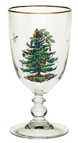 Spode Christmas Tree Pedestal Goblets with Gold Rims, Set of - Rim Gold Goblet