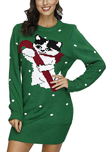 Sovoyontee Women's Cute Funny Hilarious Ugly Christmas Sweater Dress