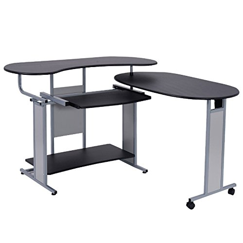 Expandable Foldable L-Shape Computer Laptop Notebook Writing Desk Slide-Out Keyboard Shelf PC Table Home Office Space Saving Furniture Workstation Large Work Space Anti-Corrosion Anti-Rust