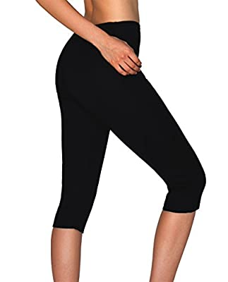 IFLOVE Sauna Sweat Pants For Women Weight Loss Workout Leggings Easy Slim Hot Yoga Capri Thigh Belly Fat Burner Waist Trainer Black