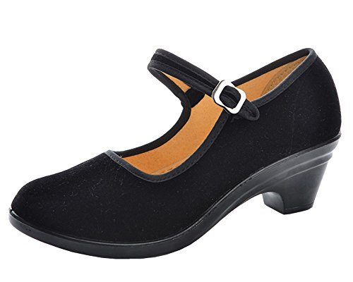 Mary Dance Modern staychicfashion Heel Outdoor Shoes Shoes Women's Kitten Casual Velvet Jane Black Walk qXxqFE4