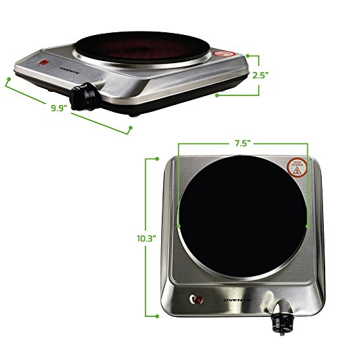 "Ovente Countertop Infrared Burner – 1000 Watts – 7.5"" Ceramic Glass Single Plate Cooktop with Temperature Control, Non-Slip Feet – Indoor/Outdoor Portable Electric Stove – Stainless Steel (BGI201S) by Ovente (Image #7)"