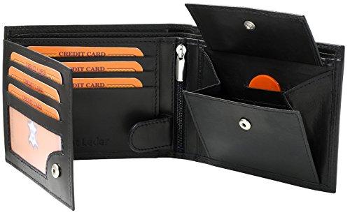Samtweiche schwarze Unisex Ledergeldbörse aus echtem Leder in Querformat Portemonnaie Geldbeutel #SQ70