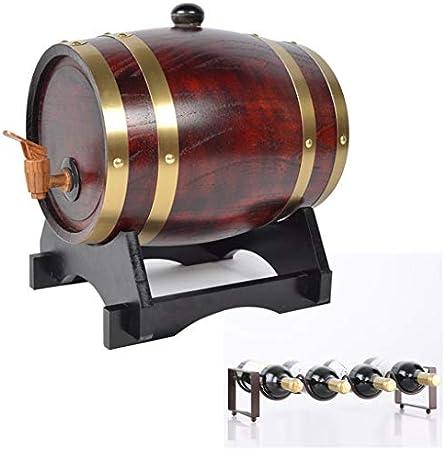 Barril de roble Wine Barrel 3L, cubo Decorativo de Roble Estilo Vintage con Botellero Utilizado para Almacenar Whisky, Licores, Cerveza Vino, cerveza, sidra, whisky. ( Color : Vintage , Size : 3L )