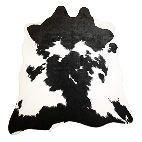 JaYe Faux Fur Black and White Cowhide Rug,5x6.6 Feet Cow Skin Area Rug Large Size. (5x6.6, Black and White)