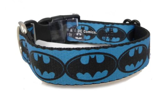 "Batman Blue Black Logo Dog Collars 1.5"" x 18-32"""