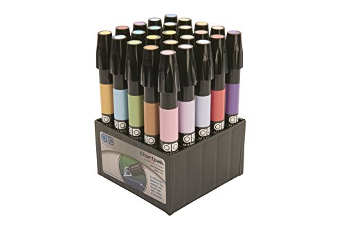 The Original Chartpak AD Markers, Tri-Nib, 25 Assorted Pastel Colors in Tabletop Cube, 1 Each (F)
