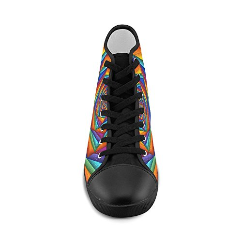 Model013 Artsadd Psychedelic Rainbow Spiral High Top Canvas Shoes for Kid
