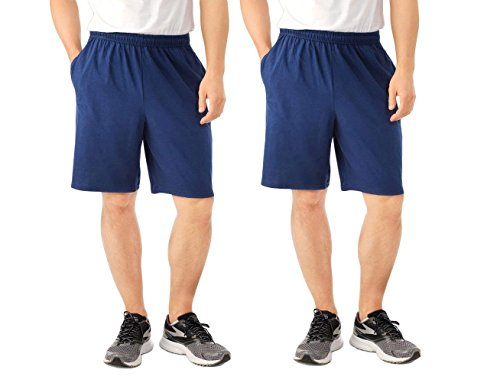 Fruit of the Loom 2 Pack Tagless Mens Shorts with Pockets 9 inch Inseam Athletic Cotton Running Shorts