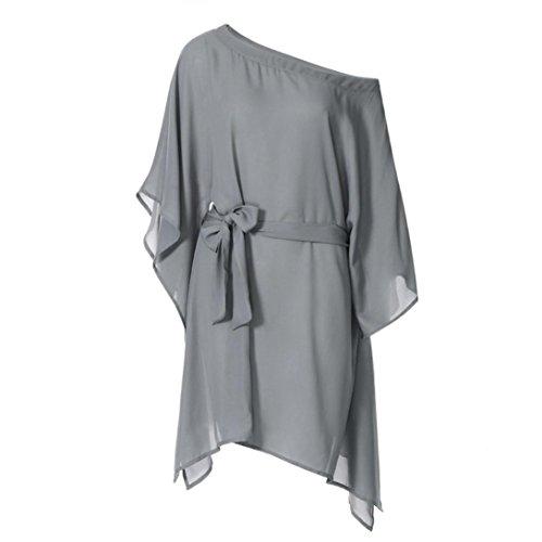 Batwing Belt (Chiffon Mini Dress + Belt,Clearance! AgrinTol Women Casual Chiffon Strapless Irregular Ultra Loose Batwing Sleeve Mini Dress + Belt (XL, Gray))