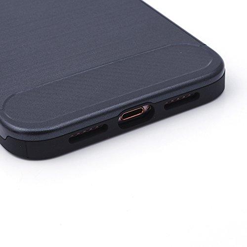 iProtect TPU Schutzhülle Apple iPhone 7 Plus, iPhone 8 Plus Carbon Case brushed schwarz