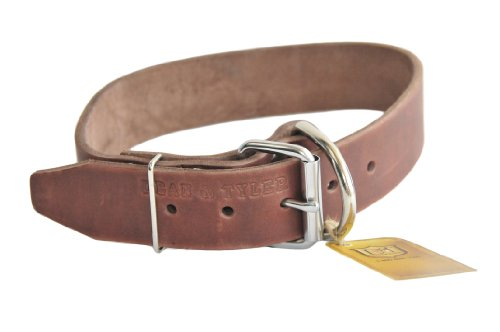 "Dean and Tyler ""B and B"", Basic Leather Dog Collar with Strong Nickel Hardware – Brown – Size 18-Inch by 1-3/4-Inch – Fits Neck 16-Inch to 20-Inch"