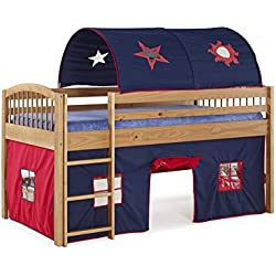 Alaterre Dylan Junior Loft Bed with Blue/Red Tent and Playhouse, Cinnamon Finish