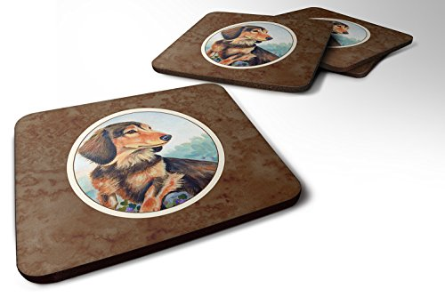 Caroline's Treasures 7023FC Set of 4 Long Hair Chocolate and Cream Dachshund Foam Coasters, 3 1/2 x 3 1/2, multicolor