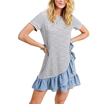 RBBK Women's Assymetrical Striped T-Shirt Dress with Ruffles (Small) White at  Women's Clothing store