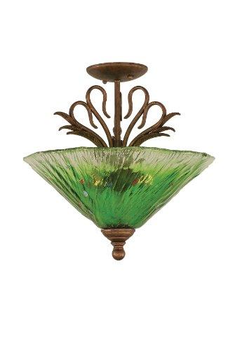 (Toltec Lighting 201-BRZ-717 Swan Three-Light Semi Flush Mount Bronze Finish with Kiwi Green Crystal Glass Shade,)