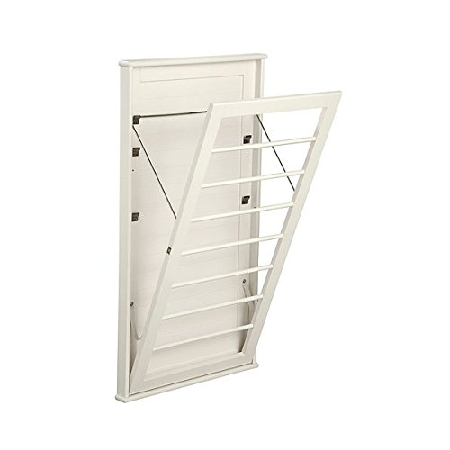 (Laundry Room Space Saving Wall Mount Clothes Clothing Drying Rack Hanger Large Off White 23