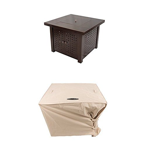 Pleasant Hearth OFG418T A Eden Square Gas Fire Pit Table, 38 with Square Fire Pit Cover, Large