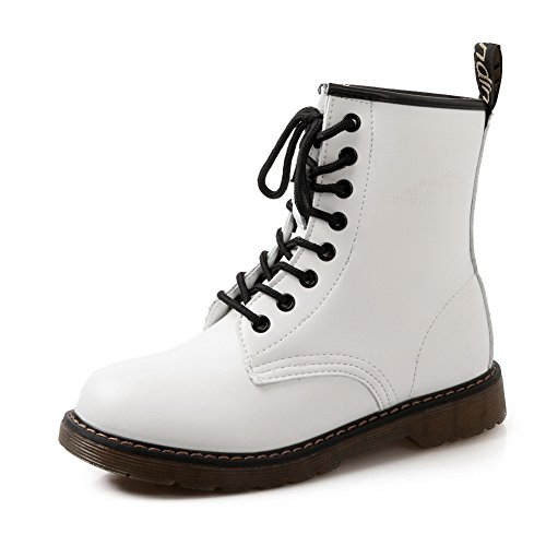 Bandage Patent Top ABL10508 White BalaMasa Microfiber High Leather Womens Boots RqEXwZ54x