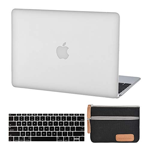 (MacBook 12 Inch Plastic Hard Shell Case Clear & A1534 Silicon Keyboard Cover A1534 MacBook Air 12 Inch Hard Case(Newest Version 2017/2016/2015) and Electronics Accessories Organizer Bag-Crystal Clear)