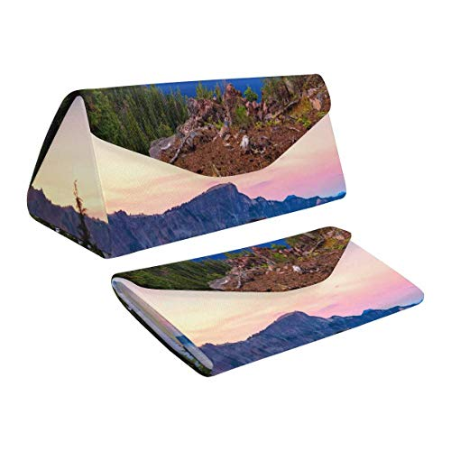 InterestPrint Crater Lake National Park in Oregon, USA - Wizard Island Lovely Foldable Glasses Case Boxer Magnet Closure