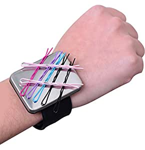Magnetic Silicone Wrist Strap Bracelet to Hold Metal Bobby Pins and Clips in Easy Reach