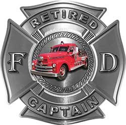 (Retired Captain Officer Fire Department Maltese Cross Firefighter Decal with Antique Fire Truck in Silver)