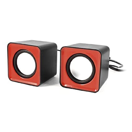 eDealMax Par Negro plástico Rojo Cubo Forma USB 2.0 DE 3,5 mm estéreo Mini