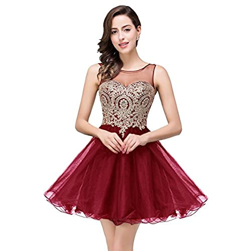 Short Beaded Gold Applique Homecoming Party Dresses For Juniors (Burgundy,6)