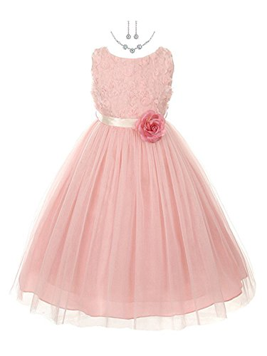 Flower Rose Bud Girl - My Best Kids Rosebud Appliqué Taffeta Flower Girl Dress (Free Necklace Set) (8, Dusty Rose)