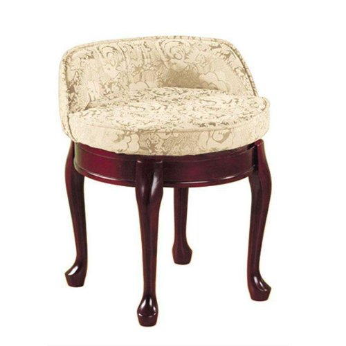 Ivory Traditional Vanity (Delmar Low Back Swivel Vanity Stool, LOW BACK, IVORY DAMASK)