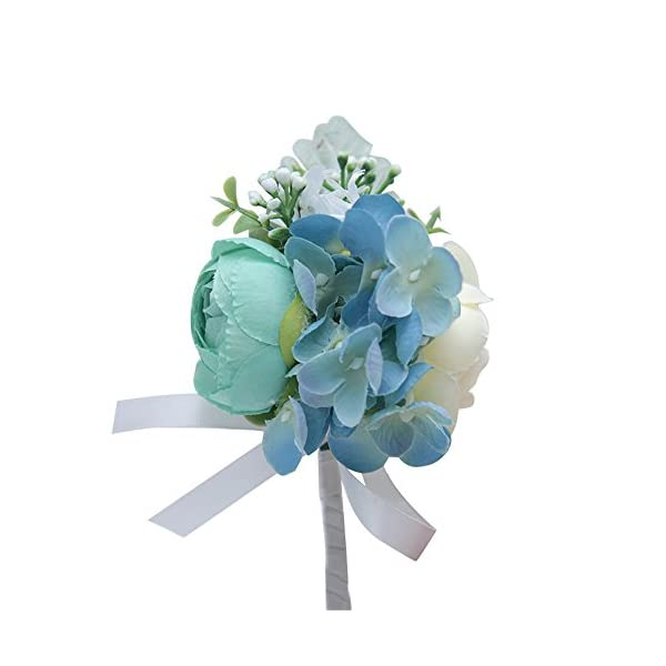MOJUN Peony Hydrangea Flower Boutonniere Corsage Brooch for Wedding Party Prom Homecoming, Pack of 4, Turquoise+Cream