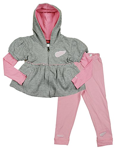 NHL Detroit Red Wings Little Girls Toddler 2-piece Zipup Hoodie and Pants Set - Red Wings Girls Shirt