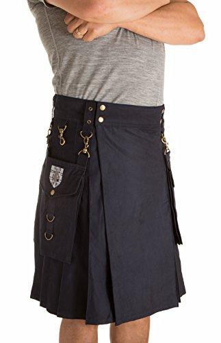 Navy Blue Kilt - Damn Near Kilt 'Em Men's Highlander Utility Kilt Medium Navy Blue