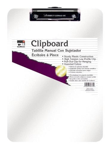Charles Leonard Clipboard - Plastic/Transparent with Low Profile Clip - Letter - Clear, 1 Each, 89710 Charles Leonard Inc.