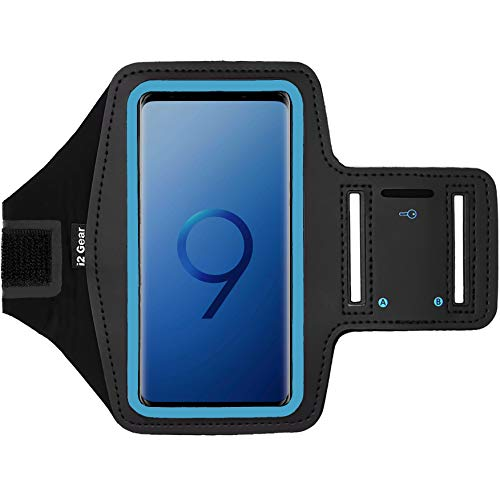i2 Gear Running Exercise Armband Case for Samsung Galaxy S9, S7, Edge, Active and Google Pixel 2, 3 Phones with Adjustable Sport Band, Reflective Border and Key Holder (Black Cyan)
