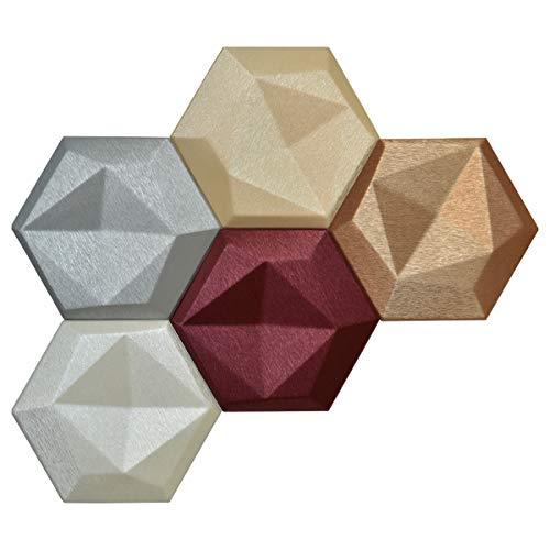 Panel Art Mosaic Tile - Art3dwallpanels Faux Leather Tiles 3D Wall Panels Hexagonal Mosaic Wall Tiles (20 Pack)