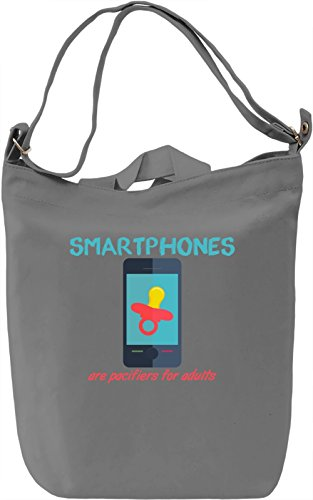 Smartphones are pacifiers for adults Borsa Giornaliera Canvas Canvas Day Bag| 100% Premium Cotton Canvas| DTG Printing|