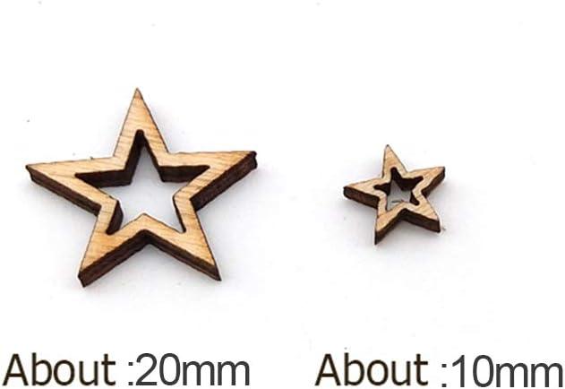 20 mm Cooer Lot de 50 d/écorations en bois naturel pour scrapbooking Motif /étoile creuse