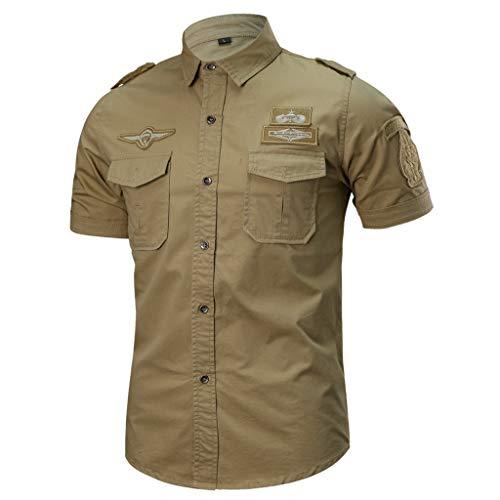 T shirt Nouveau Badge Mens Lâche Style Tops Mode Kaki Coton À Manches Casual militaire Courtes Mcys 4xRvA