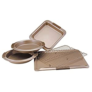 Anolon 57328 Advanced Nonstick Bakeware Set / Baking Pans with Grips – 5 Piece, Brown
