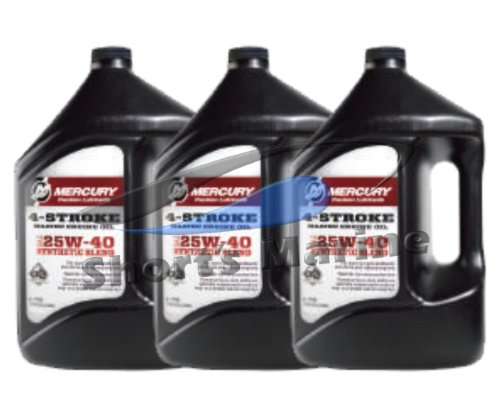 Mercury 4-Stroke FC-W SAE 25W-40 Synthetic Blend Engine Oil Case of 3 Gallons