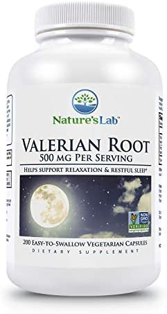 Nature's Lab Valerian Root 500mg - 200Count 3 Month Supply Aids in Healthy Natural Sleep, Controlling Anxiety Stress Management